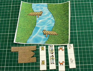six pieces of paper - a river, a boat, a man, a chicken, a fox and a bag of corn.