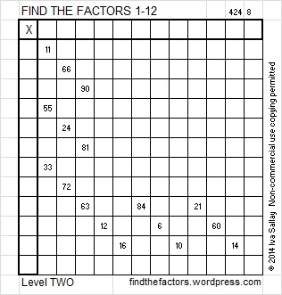 factor puzzle. math | Find the Factors