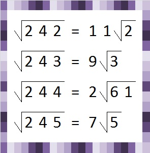 Square roots 242 - 245