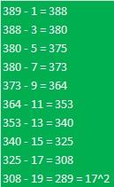 389 to 289