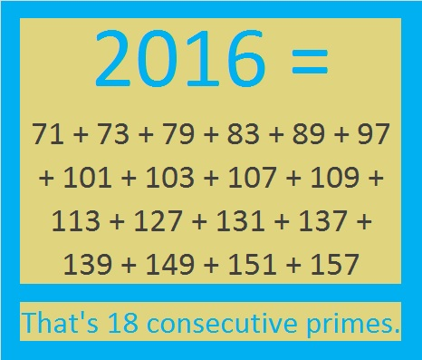 2016 sum of consecutive primes