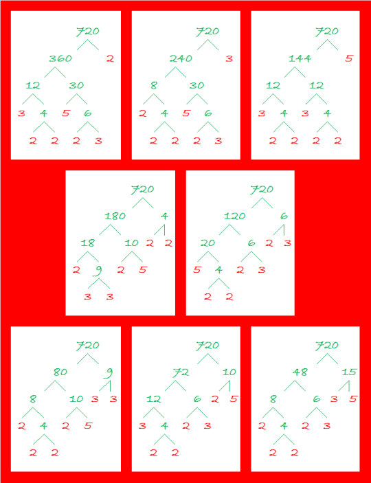 720 Some Factor Trees