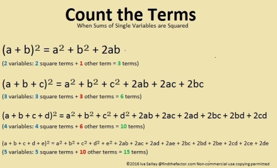 Count the Terms of Sums Squared